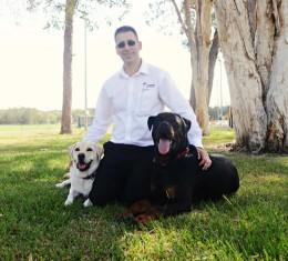 Justin Jordan with dogs