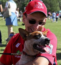 Justin Jordan with Red dog, RSPCA Million Paws walk