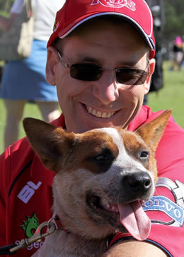 Justin Jordan with Red dog at RSPCA Million Paws Walk 2014