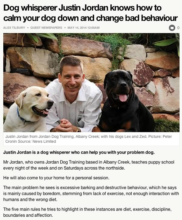 Quest News article excerpt about problem dogs