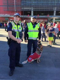 red dog with police officers