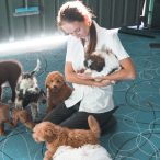 Sarah with puppies